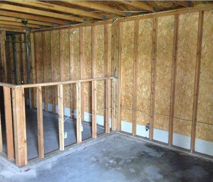 Framing in a house suffering from fire damage