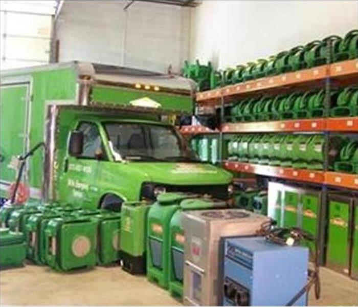 SERVPRO truck and drying equipment